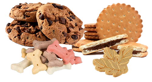 Biscuits secs, enrobés, sandwichs, cookies, pet food
